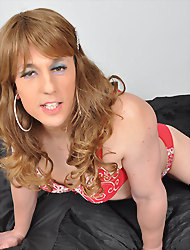 Horny blonde TGirl showing off..